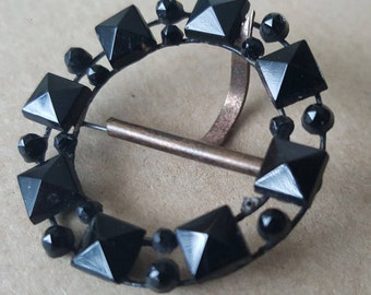 Vintage Art Deco 1920s faceted French Jet Glass Buckle
