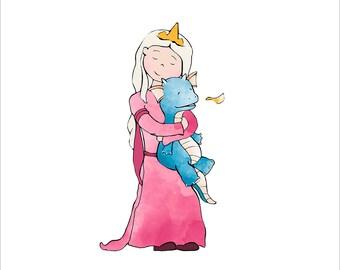 Dragon and Princess Art Print - Girl Hugging Dragon
