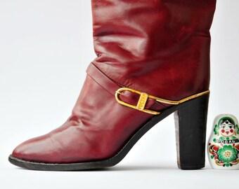 Vintage High Heel Leather Boots, Vintage Burgundy Boots, Vintage Leather Italian Boots