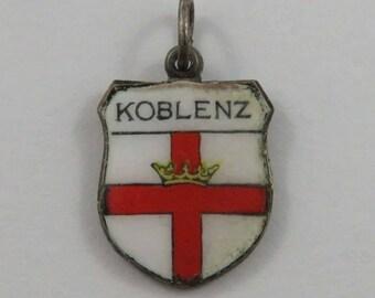 Koblenz Enamel Travel Shield Silver Vintage Charm For Bracelet