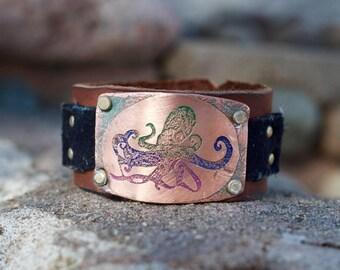 Kraken - Octopus Jewelry Bracelet - Hygge Copper and Leather Jewelry - Kraken Octopus Bracelet - Hygge Birthday Gift - Beach Jewelry -