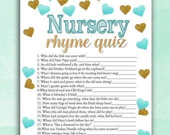 Baby Shower Game Nursery Rhyme Quiz - Teal Gold Hearts - Printable Digital Instant Download Stars Glitter Boy Pretty Baby blue shower DIY