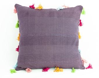 Tassel throw pillow bohemian decorative pillow, high end boho pillow, handmade eco friendly gift, girls room decor, eco friendly cushion