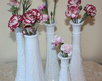 Wedding Decor: Vintage Milk Glass Bud Vases, Centerpieces, DIY, 5-Piece Set