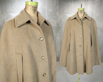 Pendleton Cape • Wool Cloak • 1970s Camel Coat • Vintage Pendleton • Free Size