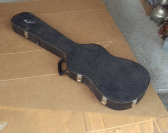 vintage guitar case black carrying storage,for unknown guitar