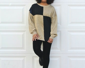 Vintage 80s OVERSIZED Gold Metallic Sweater Womens Glitter Color Block Sweater Black Crew Neck Sweater Mens Slouchy Pullover Unisex Sweater