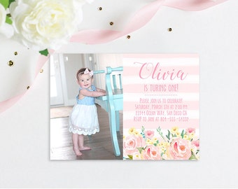 Watercolor floral Birthday Invitation, Classy first birthday invitation, floral birthday invite, baby girl invitation, birthday invitation