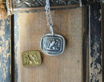 Reversible-double sided-Pelicans-Lion and mouse wax seal fine silver charm
