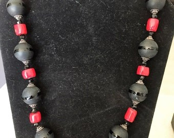 Black with Red coral Necklace #12032