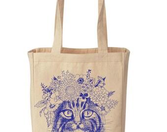 BOHO CAT Tote / Cat Shopping Canvas Tote / Cat Shopping Grocery Tote / Boho Cat Canvas Tote / Grocery Tote