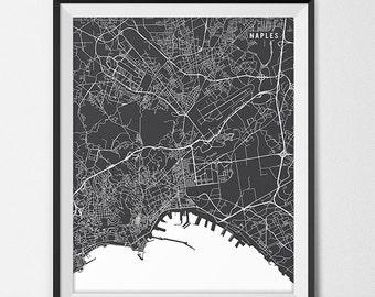 Naples Italy Map Art, Italy Art Print Naples Map of Naples City Map Poster Italy Gift Naples Art Poster Travel Map