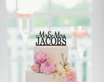 Wedding Cake Topper, Mr and Mrs, Last Name Cake Topper, Personalized Cake Topper, Custom Cake Topper, Anniversary Cake Topper, 008