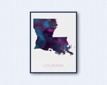 Louisiana Map Watercolor Poster, United States Map Print, Purple Version