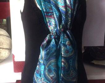 Kashmiri Silk Scarf,Henna style Turquoise Teal silk wrap,Paisley silk scarf,100% Silk,kashmiri Scarf,Head scarf,Paisley fabric