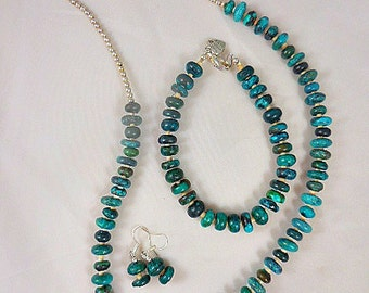 Green Turquoise Beaded Necklace Set with Bracelet and Earrings