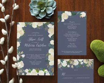 Custom Printable Blue Floral Wedding Invitation Set - PDF