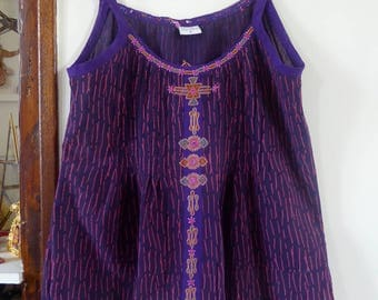 Vintage indian Shrujan vest top tank hand made embroideries rabari size S india