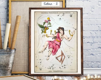 Vintage World Map Print,  Sidney Hall  Constellation Cards, Celestial Star Chart, Constellations Maps: The constellations Gloria Frederici