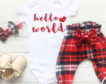 Newborn Girl Coming Home Outfit, Baby Girl Clothes, Going Home Outfit, My First Christmas, Winter Take Home Outfit, Hello World, Baby Girl