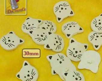 BF45, 4 buttons, 30mm, Cat, white, Large decorative button, plastic, polymère