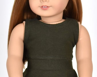 Cropped top 18 inch doll clothes Color Dark Olive Green
