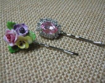 Hair Pins, Soft Pink, Light Pink, Rhinestones, Vintage Porcelain, Porcelain Flower, Formal, Glam, Wedding, Bridesmaids {hp113}