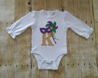Embroidered personalized Mardi Gras bodysuit or shirt-Baby girl bodysuit-girl shirt-toddler mardi gras shirt-cute mardi gras ruffle shirt