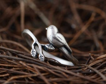 Bird ring, Leaf Ring, Adjustable bird Ring, sterling silver bird ring, animal jewelry (R150)