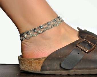 Chain ankle bracelet, Silver Anklet, Belly Dance, Gypsy tribal women, Pendant chains anklets, One or pair anklet, Baroque jewelry