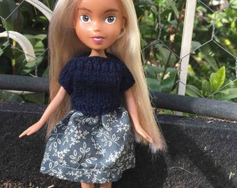Back to Natural Doll No.30 recycled, OOAK, hand painted, hand knitted, and clothed. Made Down