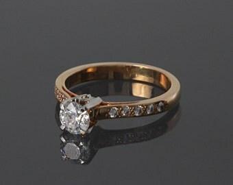 Engagement ring, Gold engagement ring, 14k engagement ring, CZ engagement ring, Wedding ring, Women ring, Gift for women, Gift for her