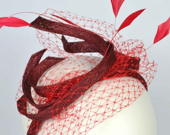 Alice Band Fascinator with feathers and veiling
