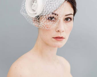 Flower Crin Pillbox Fascinator Silver Off-white veiling with Swarowski Rhinestones