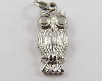 Perched Owl Sterling Silver Charm or Pendent.