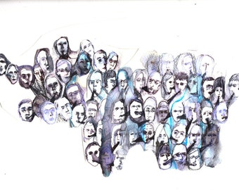 ABSTRACT ART PRINT of heads talking human faces people in blue, purple, grey mounted A4 artwork