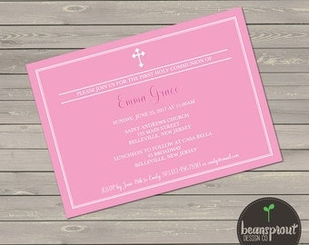 Pink 1st Communion Invitation - Printed First Holy Communion Invite - Girl 1st Communion Invitation - First Communion Invitation - Baptism