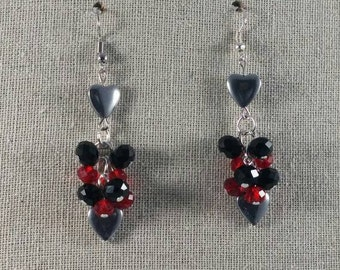Red, Black and Hearts Cluster Earrings