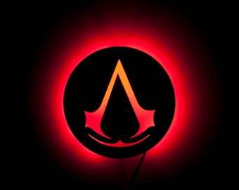 Lighted Assassin Sign Lamp - Acrylic - Night Light and Wall Art for fans of Assassin Game