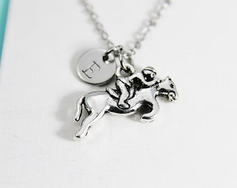 Race Horse and Jockey Necklace Horse Equestrian Jewelry Horse Racing Necklace with Personalized Initial Necklace Monogram Custom Jewelry