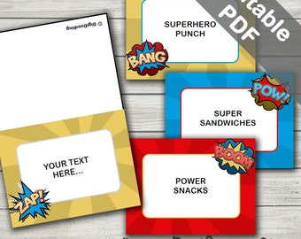 Superhero Food Signs. Tent Style Labels. Editable/Printable. Instant Download.