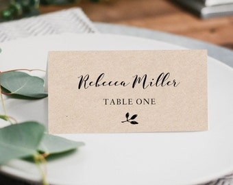 Rustic place cards etsy printable place cards place card template editable place cards wedding escort cards junglespirit Gallery