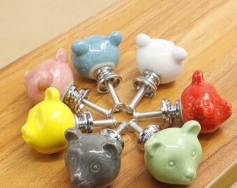 Ceramic Knob Bear Drawer Knob Colorful Knobs for Children Dresser Knob Cabinet Door Knobs Kitchen Knob Cupboard Knob Decorative Animal Knob