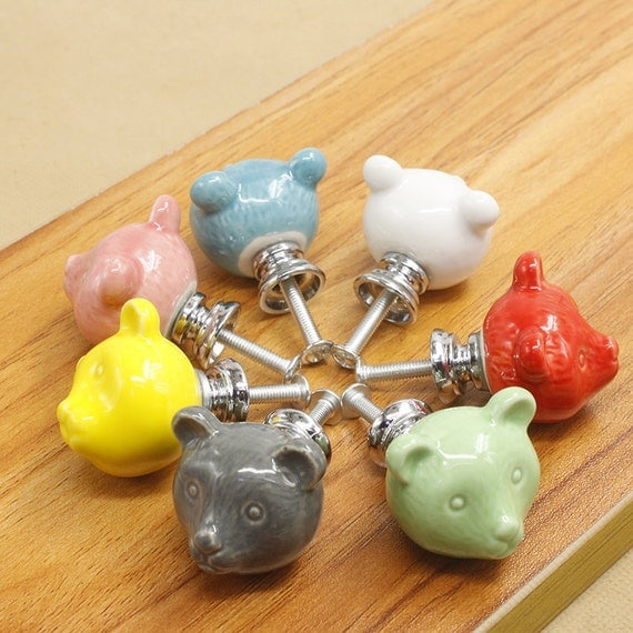 Ceramic knob bear drawer knob colorful knobs for children for Children s bureau knobs