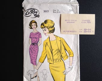 Le Roy 3023, Wiggle Dress and Jacket, Size 16, 36 in Bust, with original Liverpool purchase receipt from 1965