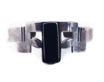 Vintage Sterling Silver Mexico Black Onyx Cuff Bracelet Retro Jewelry
