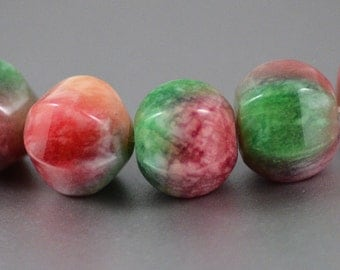 Candy Jade Pink Green White 6-Sided Stone Beads Dyed Aventurine 12mm Strand