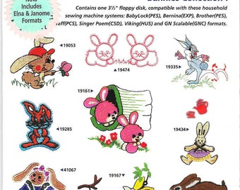 Amazing Designs - Great Notions - AD1040 - Bunnies Collection 1  - Machine Embroidery designs - Floppy disk in open package
