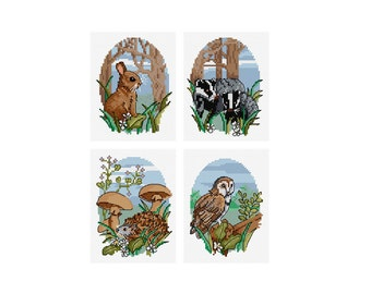 Woodland Animals - Set of 4 - Durene J Cross Stitch Patterns