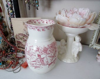 Vintage Red/Pink Transferware Toothbrush Holder decorated in English Ivy....Ashworth Bros...English Decor, French Decor, Bath Decor